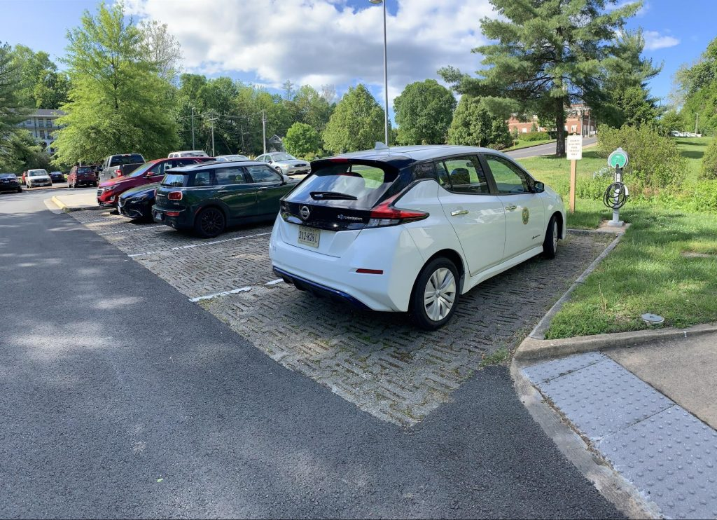 Parked cars on permeable pavers